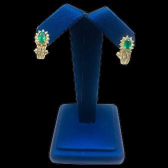 14K YG Emerald and Diamond Earrings