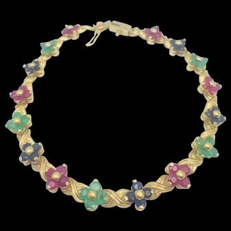 Fancy 14K YG Ruby, Emerald, Sapphire Floral Cluster Bracelet