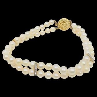 Akoya pearl and diamond bracelet