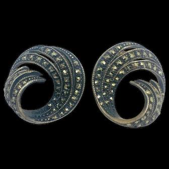 Marcasite triple swirl stud sterling fashion earrings