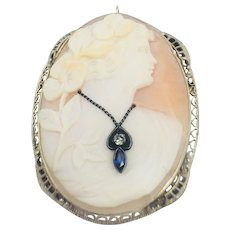 14k white gold framed Cameo with Blue Sapphire and Diamond pendant brooch