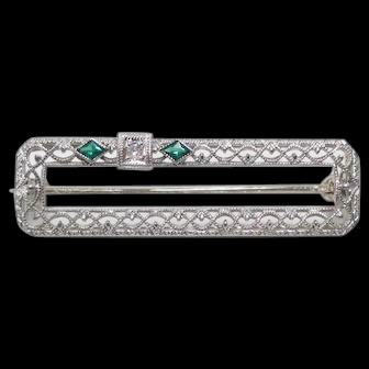 Vintage Emerald and Diamond filigree pin