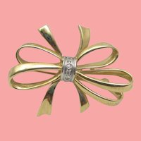 Vintage Bow and diamond stunner pin