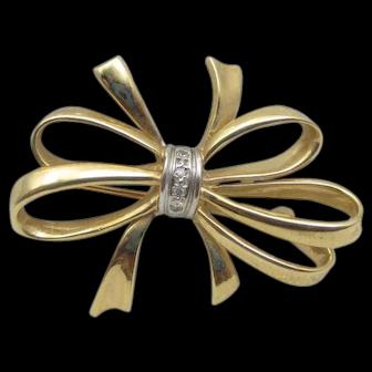 Vintage Bow and diamond stunner pin