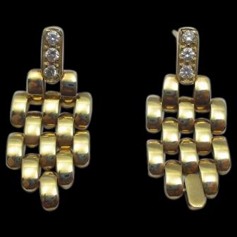 Diamond watch link Dangle Earrings