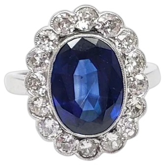Sapphire and Diamond Halo 14k white gold ring