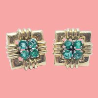 Emerald and 14k YG vintage earrings
