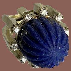 14K Yellow Gold Carved Lapis & Diamond Ring