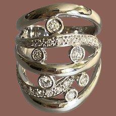 14K White Gold Asymmetrical Diamond Ring