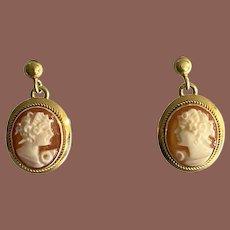 18K Yellow Gold Cameo Earrings