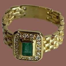 Moveable Link 14K Yellow Gold Emerald Ring