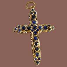 14K Yellow Gold Double-Sided Sapphire Cross