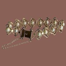 14K Yellow Gold Fancy Link Pearl Bracelet