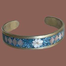 Mexican Silver Mosaic Cuff Bracelet