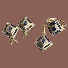 14K Yellow Gold Sapphire & Diamond 3 Piece Jewelry Set