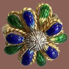 18K YG Enameled Flower Ring