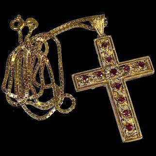 18K YG & Ruby Cross Pendant
