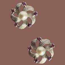14K WG Ruby & Pearl Post Earrings