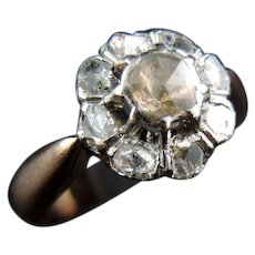 Antique 18 KT Rose Gold And Platinum Cluster Ring With Rose Cut Diamonds - 19th Century