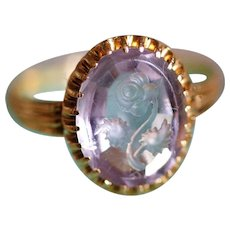 French Antique Flower Intaglio Amethyst And 18 Kt Gold Victorian Ring - 19th Century