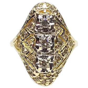 1920s -30s 10 Karat Gold Art Deco Diamond Ring .37ct 3 center diamonds, 26 small diamonds