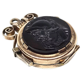 Victorian Gold Filled,  Rose Gold Onyx locket fob 1880s, Antique