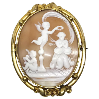 Large Antique Victorian Cherub Italian Carved Cameo Brooch Pin, artist signed