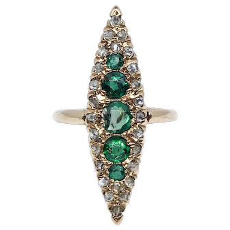 Late Victorian 14 Karat Rose Gold, Green Garnet Glass and Diamond Navette Ring