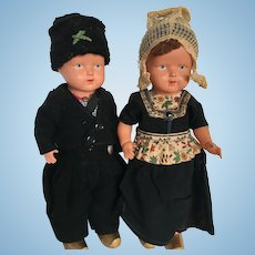 Vintage Celluloid dolls German pair Schoberl & Becker