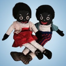 Pair of vintage golliwogs