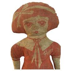 Early printed cloth doll  Poppy