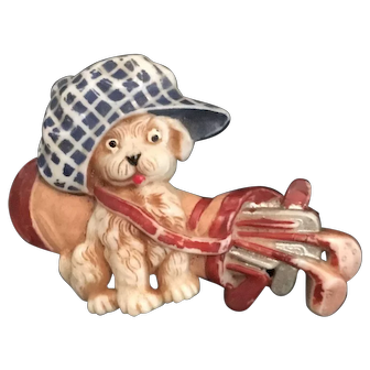 Vintage dog brooch/pin with golf clubs