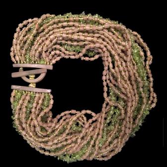 Peridot Monies Torsade and matching bracelet- Demi-parure