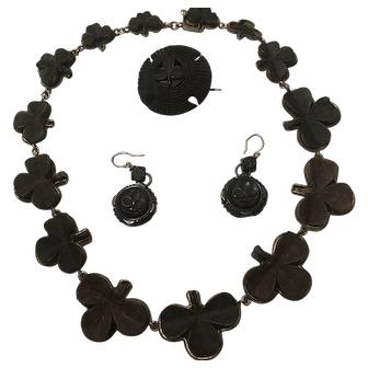 Victorian Shamrock Necklace, earrings and Brooch