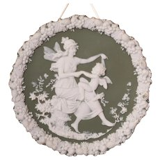 Green Jasperware Maiden Fairy & Cherub Plaque