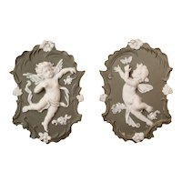 Pair of Matching Jasperware Wall Plaques Cherub Fairy