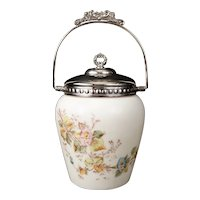 White Opal Ware & Silver Biscuit Barrel Cookie Jar