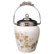 White Opal Ware & Silver Biscuit Barrel Cookie Jar