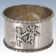 Sterling Silver Napkin Ring with Cherubs