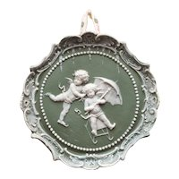 Green Bisque Jasper Ware Plaque Cherubs Sledding