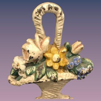 Old Iron Doorstop - Flowers in Basket