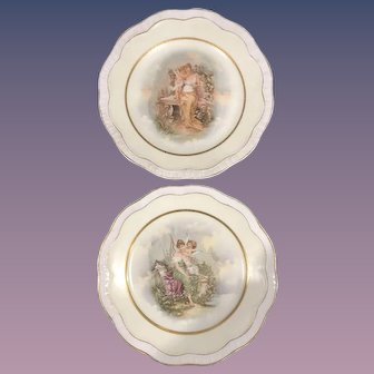 Z S & Co Bavarian Victorian Lady & Cupid Plates - Set of 2