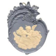 Vintage Glazed Blue Jasperware Plaque - Lady with Cherub