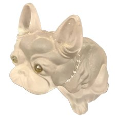 Large Vintage Old Czech Glass French Bulldog Figure