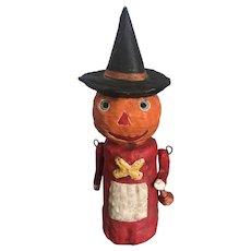 Debbee Thibault Folk Art Pumpkin Witch Figure