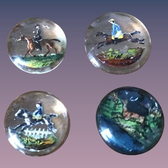 Set of 4 Intaglio Hunt Scene Button Fronts