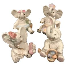 Lenox China Holiday Elephant Figurines - Set of 4
