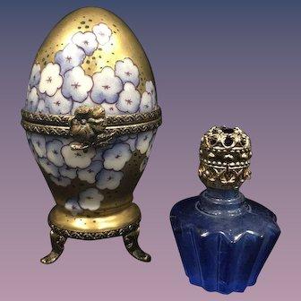 Limoges Rochard Handpainted Egg Trinket Box w/ Miniature Perfume