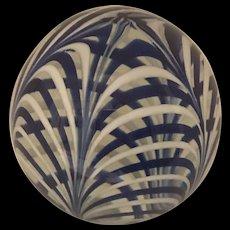 Vintage MMA Metropolitan Museum of Art Blue & White Swirl Paperweight