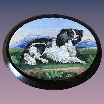 Large Italian Micro Mosaic Cavalier King Charles Dog - Grand Tour